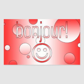 French Canadian Gifts Hello Bonjour + Smiley Face Rectangular Sticker