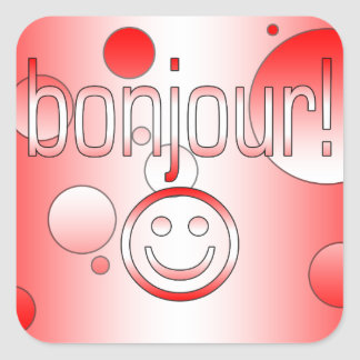 French Canadian Gifts Hello Bonjour + Smiley Face Stickers