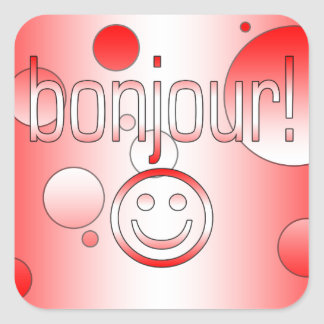 French Canadian Gifts Hello Bonjour + Smiley Face Sticker