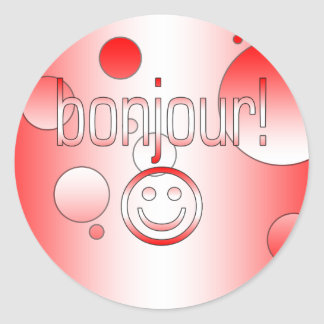 French Canadian Gifts Hello Bonjour + Smiley Face Round Sticker
