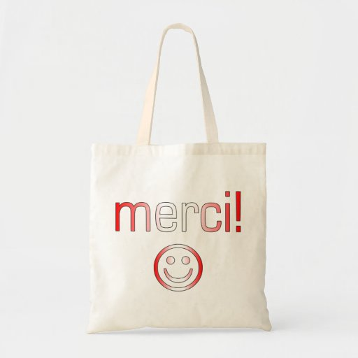 French Canadian Gifts Thank You Merci Smiley Face Bag