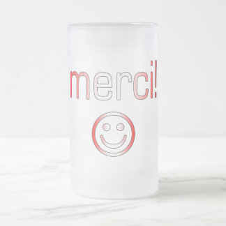 French Canadian Gifts Thank You Merci Smiley Face Frosted Glass Beer Mug