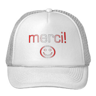 French Canadian Gifts Thank You Merci Smiley Face Mesh Hats