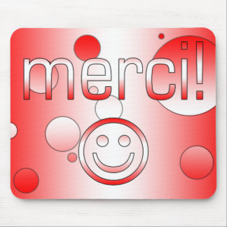 French Canadian Gifts Thank You Merci Smiley Face Mouse Pad