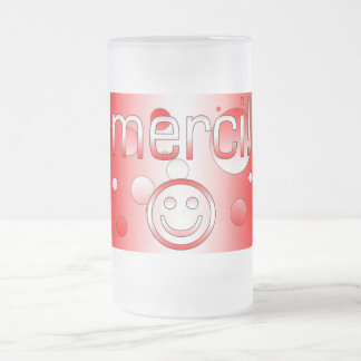 French Canadian Gifts Thank You Merci Smiley Face 16 Oz Frosted Glass Beer Mug