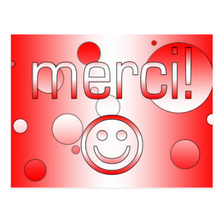 French Canadian Gifts Thank You Merci Smiley Face Postcard
