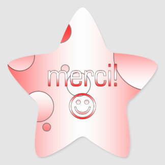 French Canadian Gifts Thank You Merci Smiley Face Star Sticker