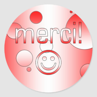 French Canadian Gifts Thank You Merci Smiley Face Round Sticker