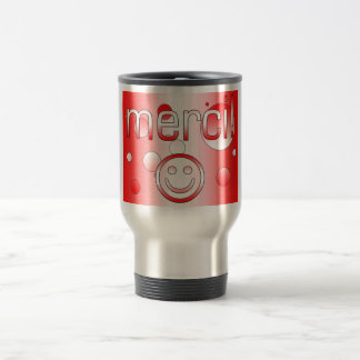 French Canadian Gifts Thank You Merci Smiley Face Travel Mug