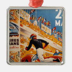 French Car Race Vintage - 24h Du Mans Metal Ornament at Zazzle