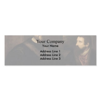 French Cardinal d`Armagnac & secretary by Titian Double-Sided Mini Business Cards (Pack Of 20)