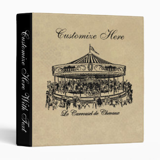 French Carousel Horses Apparel and Gifts Vinyl Binder