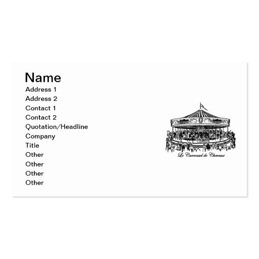 French Carousel Horses Apparel and Gifts Double-Sided Standard Business Cards (Pack Of 100)