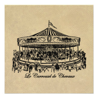 French Carousel Horses Apparel and Gifts Personalized Invitations