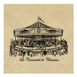 French Carousel Horses Apparel and Gifts 5.25x5.25 Square Paper Invitation Card