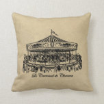 French Carousel Horses Apparel and Gifts Pillow