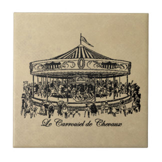 French Carousel Horses Apparel and Gifts Tile
