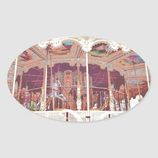 French carousel oval sticker