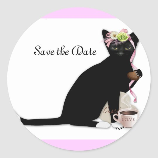 French Cat Bridal Classic Round Sticker