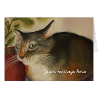 French Cat from an original watercolor painting card
