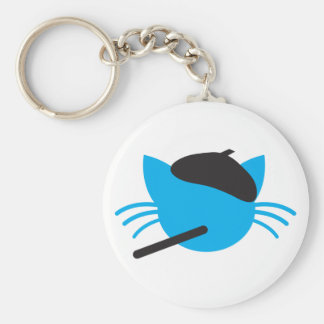 French Cat in a beret and a cigarette Keychain