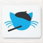 French Cat in a beret and a cigarette Mousepads