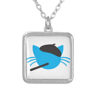 French Cat in a beret and a cigarette Silver Plated Necklace