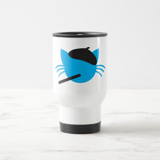 French Cat in a beret and a cigarette Travel Mug