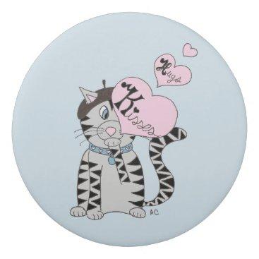 Beach Themed French cat kisses & hugs kid eraser