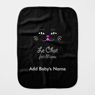 French Cat Says Miaou Cute Cartoon Cat Face Burp Cloth