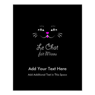 French Cat Says Miaou Cute Cartoon Cat Face Poster