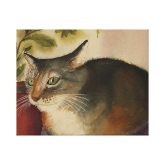 French Cat watercolor wrappedcanvas