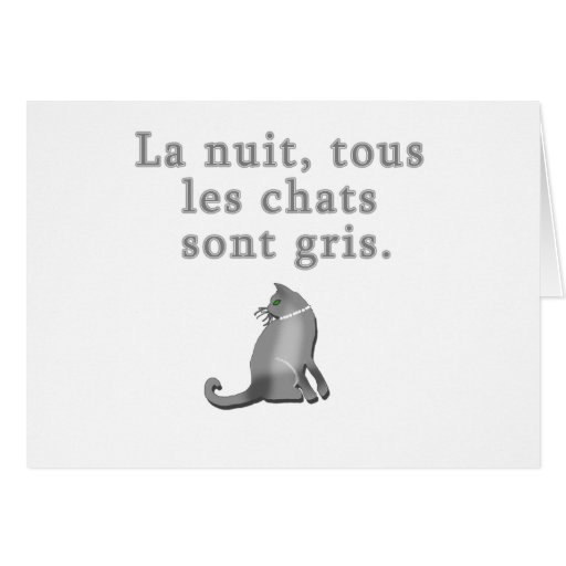 French Cats Saying Products Greeting Card
