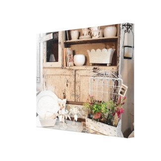 FRENCH CHABBY CHIC GARDEN VIGNETTE CANVAS CANVAS PRINT
