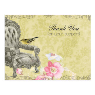 French Chair on Spring Green Thank You Postcard