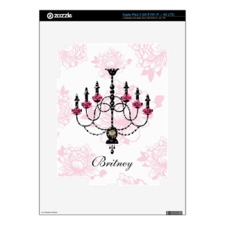French Chandelier Pink Floral Garden Decals For iPad 3