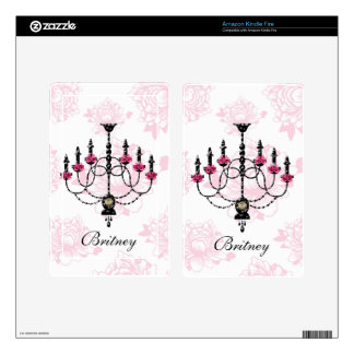 French Chandelier Pink Floral Garden Skin For Kindle Fire