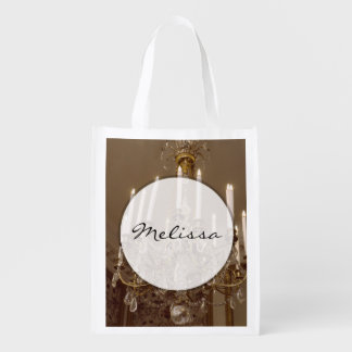 French Chandelier, Rococo In Paris Reusable Grocery Bag