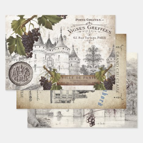 FRENCH CHATEAU HEAVY WEIGHT DECOUPAGE WRAPPING PAPER SHEETS