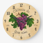 French Chateau with Grapes Vintage Personalized Clock
