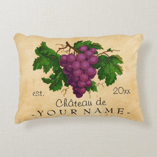 French Chateau with Grapes Vintage Personalized Decorative Pillow