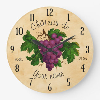 French Chateau with Grapes Vintage Personalized Large Clock