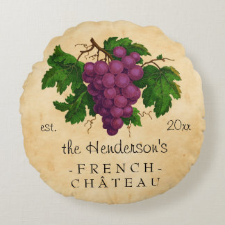 French Chateau with Grapes Vintage Personalized Round Pillow