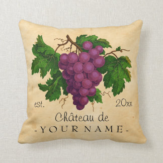 French Chateau with Grapes Vintage Personalized Throw Pillow