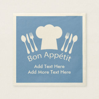 French Chef Bon Appetit Add Your Own Text Paper Napkin