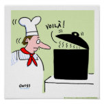 French Chef Cook Gifts Cartoon Kitchen Print