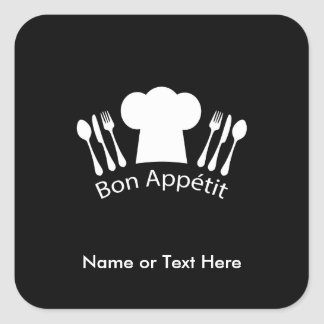 French Chef Hat Gourmet Cook Square Sticker