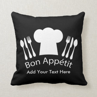 French Chef Hat Gourmet Cook Throw Pillow