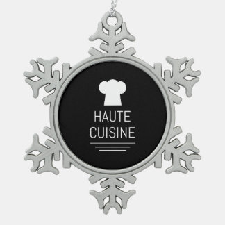 French Chef Haute Cuisine Gourmet Snowflake Pewter Christmas Ornament