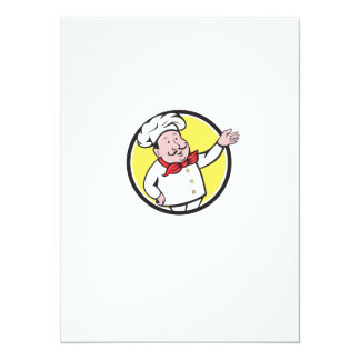 French Chef Welcome Greeting Circle Cartoon Card